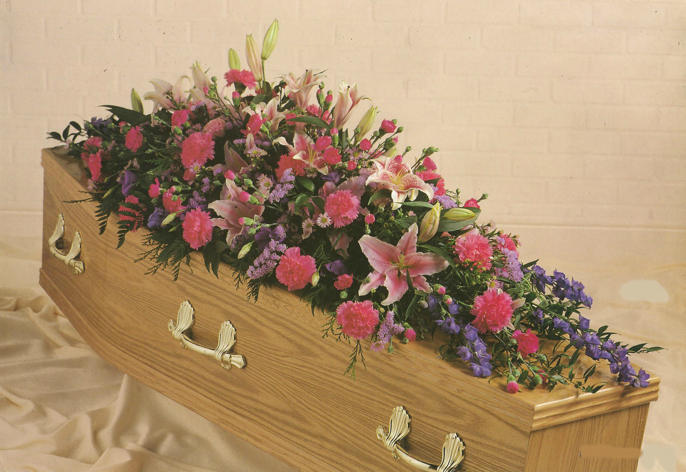 Pink and Purple Coffin Spray A3. 3ft - £135, 4ft - £180, 5ft £225, 6ft £270