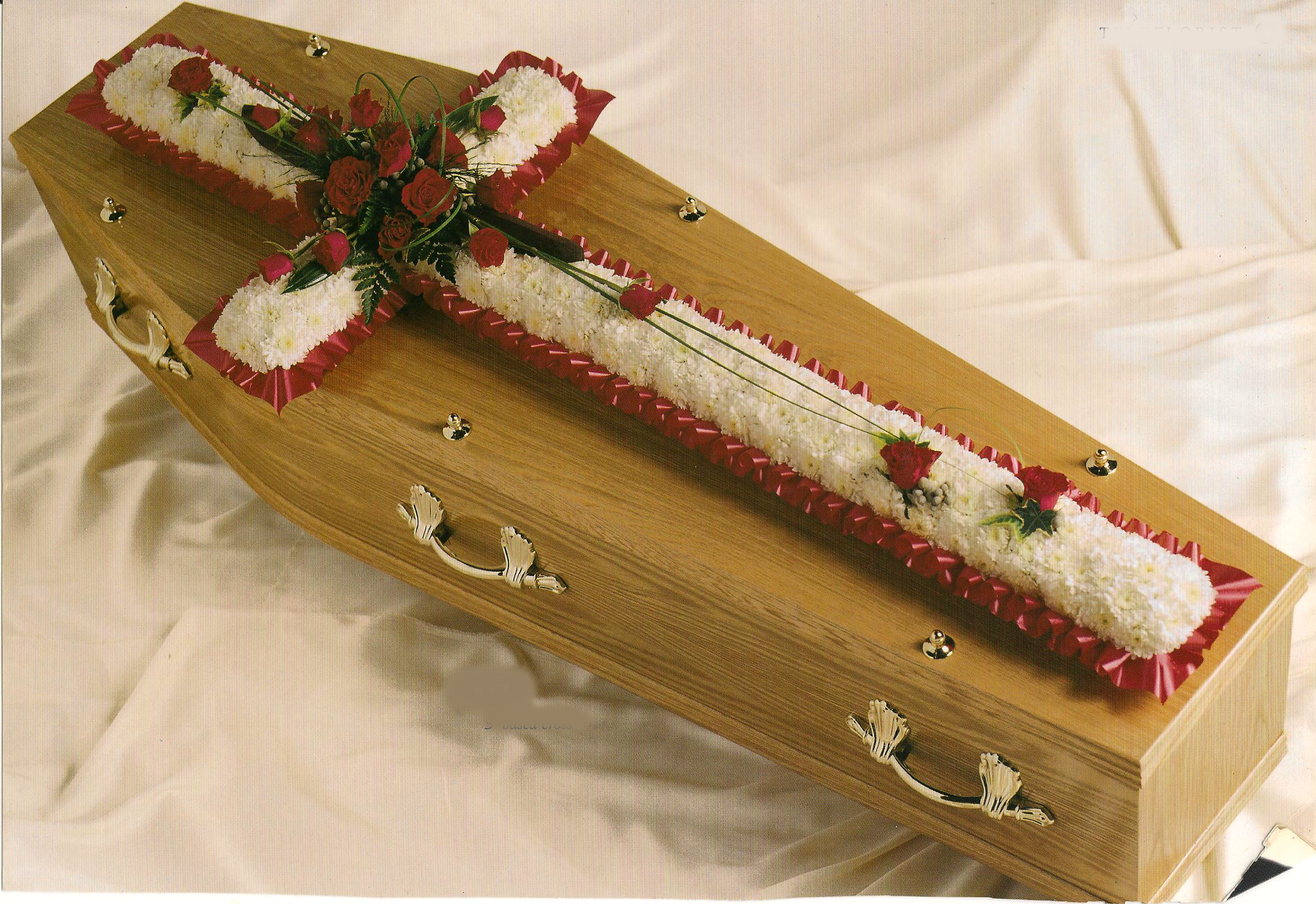 Based Cross A69. Ribbon and corsage colour to your choice. 3ft £120, 4ft £160, 5ft £190