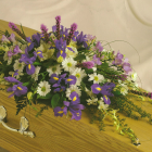 Purple and Cream Coffin spray A10. 3ft - £120, 4ft £160, 5ft £200, 6ft £240