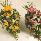 Yellow and Pink Single-Ended Coffin Sprays A25 A26. 2ft - £50, 3ft - £75
