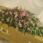 Pink and Cream Coffin Spray A6. 3ft - £135, 4ft - £180, 5ft £225, 6ft £270