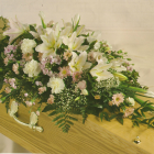 Cream (including lily) Coffin Spray A8. 3ft - £135, 4ft - £180, 5ft £225, 6ft £270
