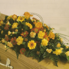 Orange and Yellow Coffin Spray A9. 3ft - £120, 4ft £160, 5ft £200, 6ft £240