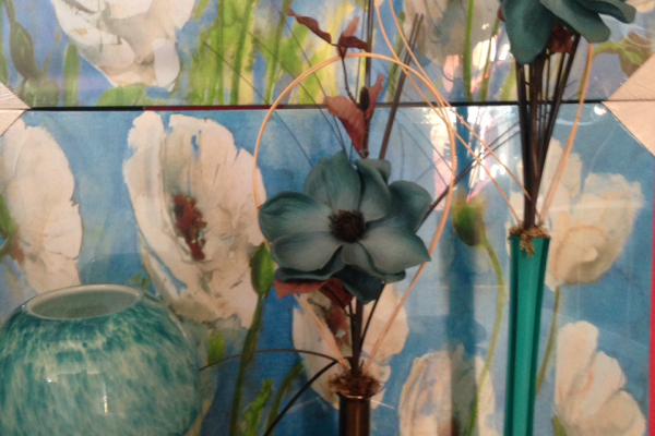 Blue vases and canvas pictures.