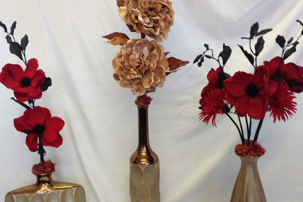 Gold and red arrangements.